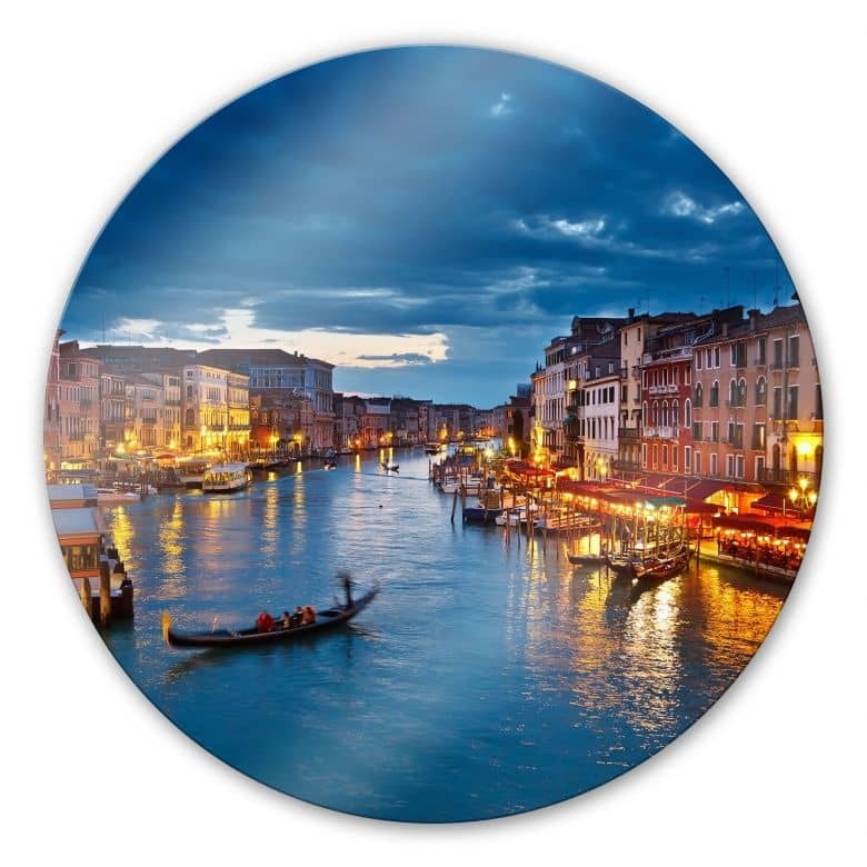 Glasschilderijen Canal Grande in Venetië - rond