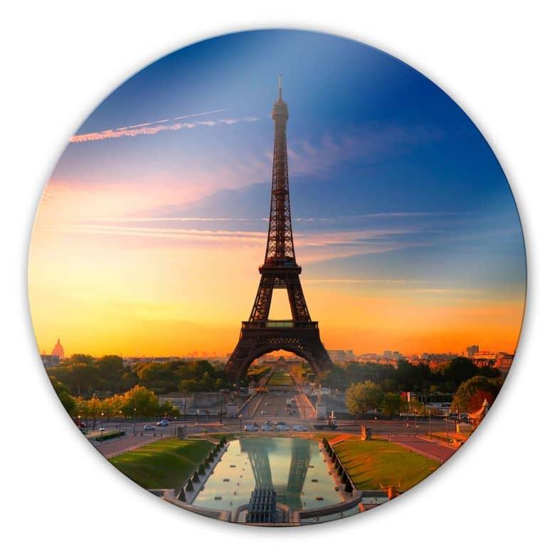 Glasbild Eiffelturm im Sonnenuntergang - rund