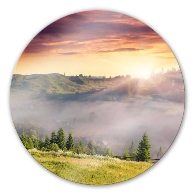 Glasbild Bergtal im Nebel - rund