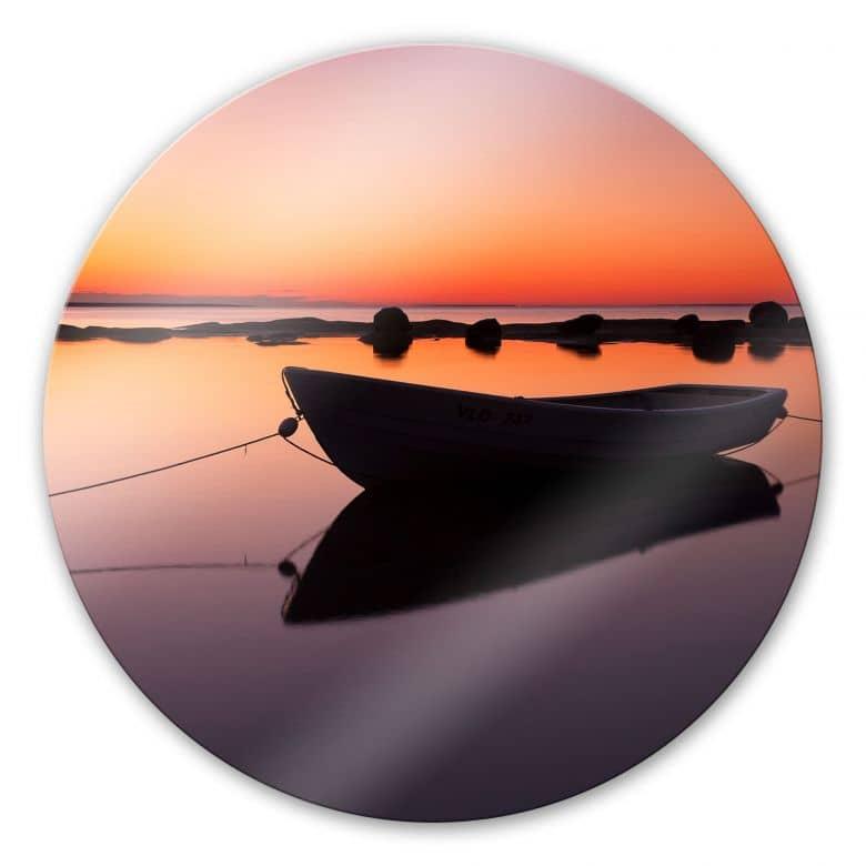 Boat on Silent Lake - Round Glass art