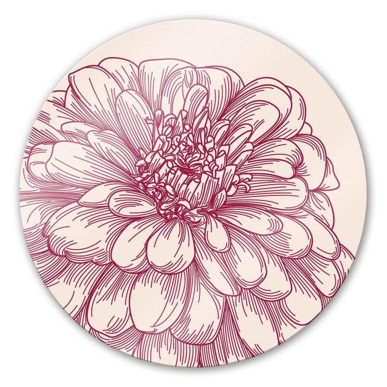 Glasbild Blüte Illustration - rund