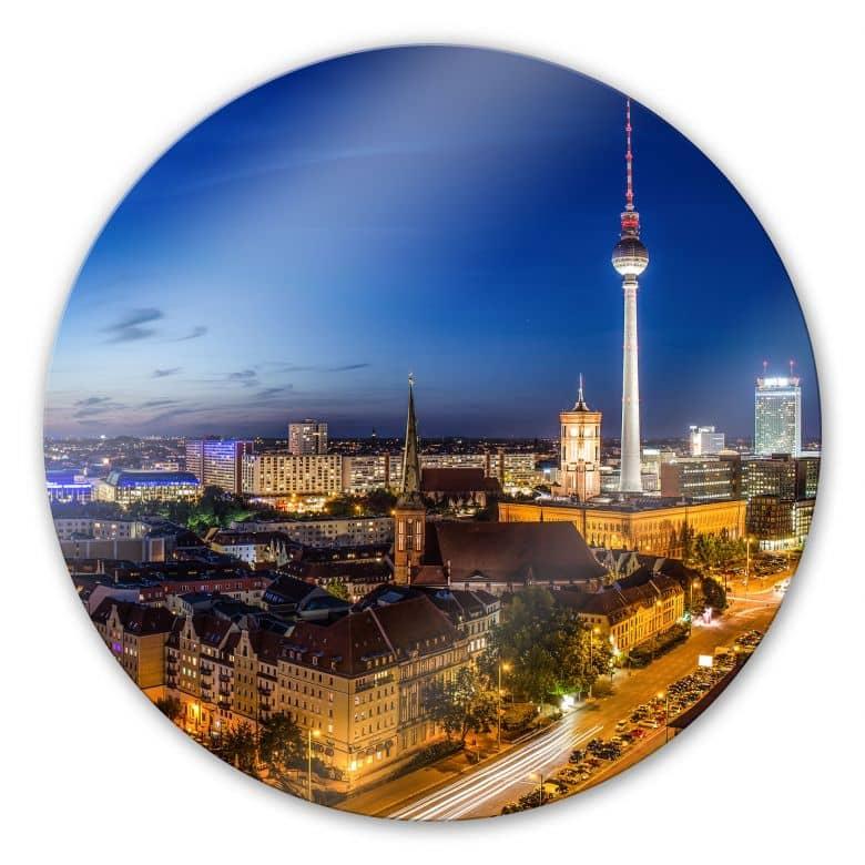 Glasbild Berlin Panorama - rund