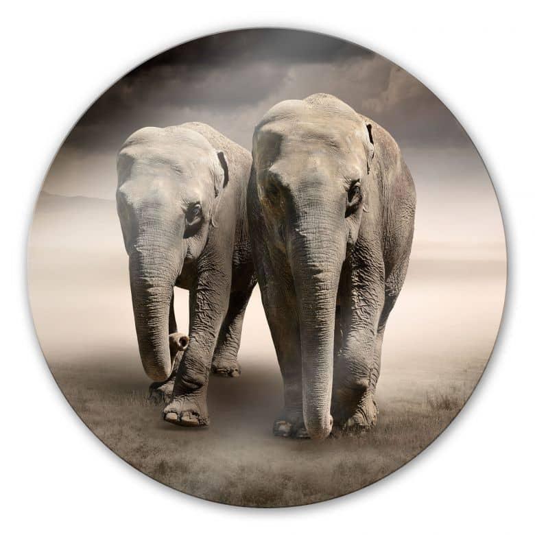 Elephants - Round Glass art