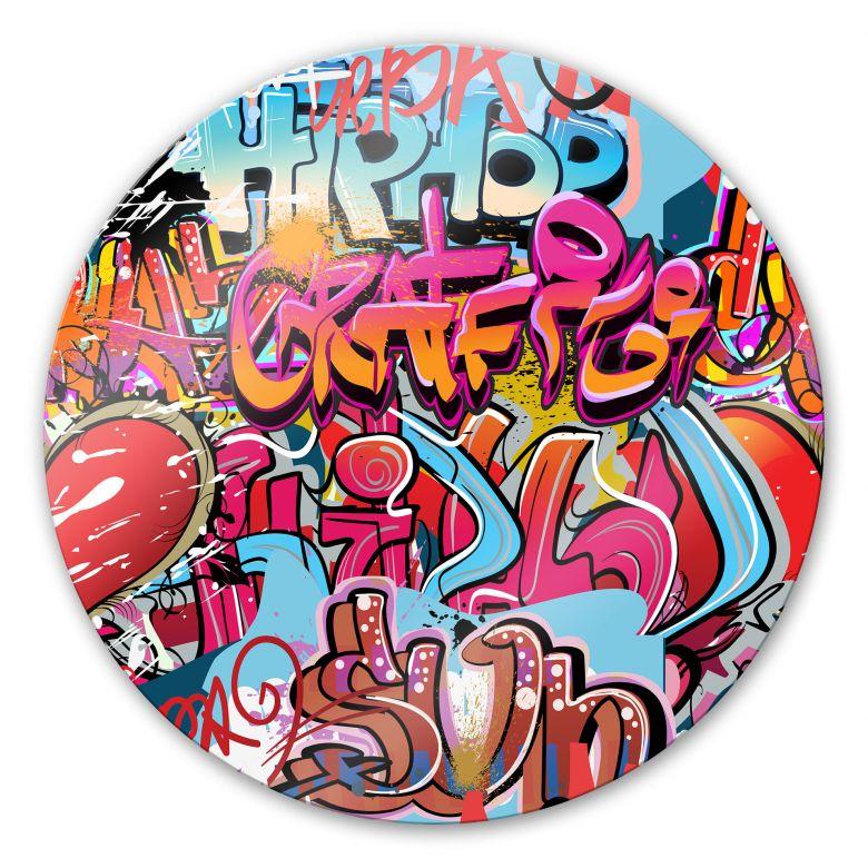 Glasbild Graffiti Hip Hop - rund