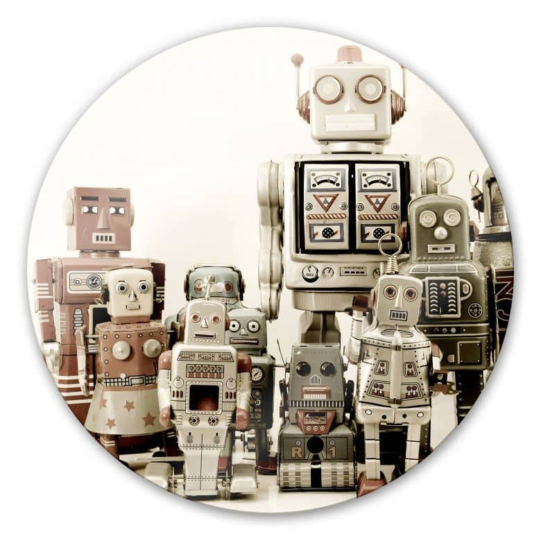 Glasbild Versammlung der Roboter - rund