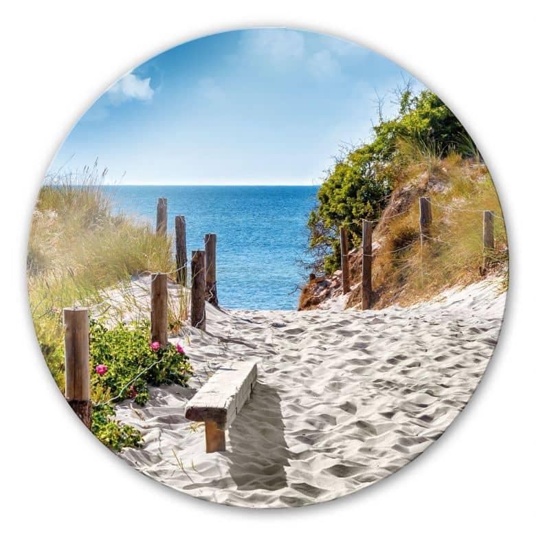 Glasbild Küstenblick - rund