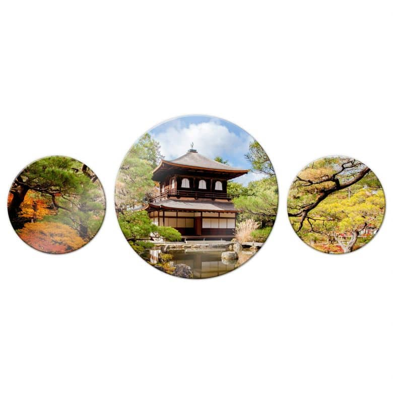 Glasbild Japanischer Tempel 2 (3-teilig) - rund