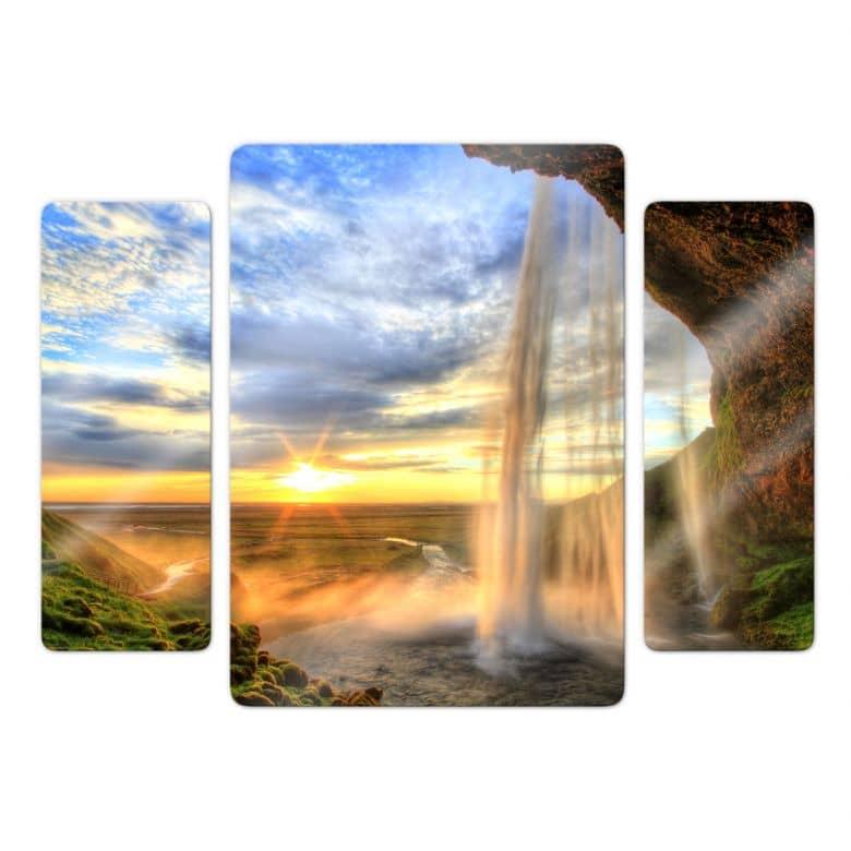 Seljalandsfoss Waterfall Glass art (3 parts)