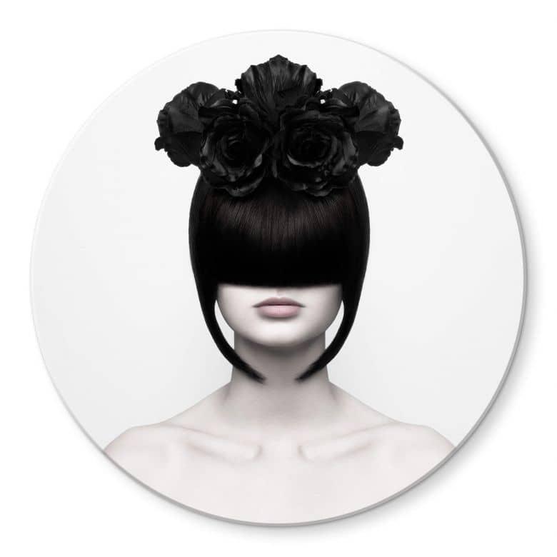 Glasbild Nemcekova - Black Widow - rund
