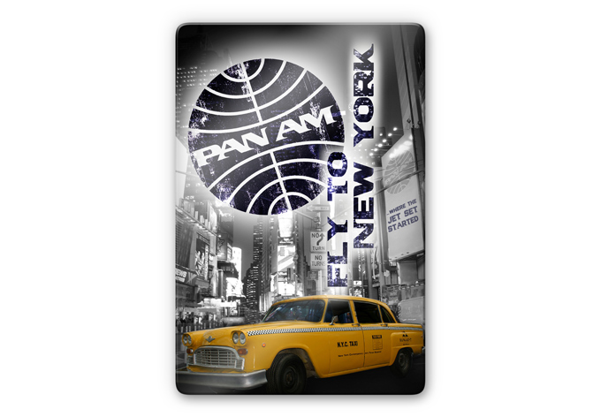 Glasbild  Pan Am - New York Yellow Taxi Cab -