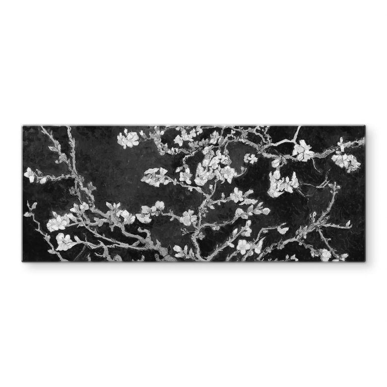 Glasbild van Gogh - Mandelblüte - schwarz - Panorama