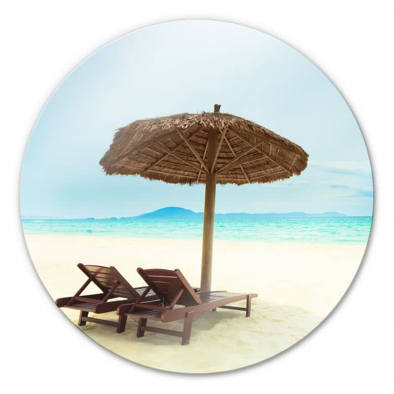 Tableau en verre -Holiday in Paradise - rond