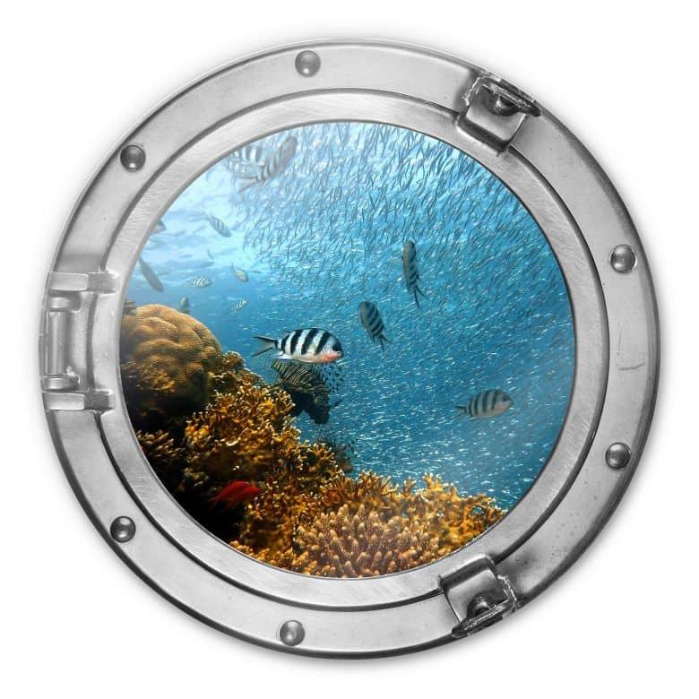 Glasbild rund 3D-Optik Bullauge - Bunte Unterwasserwelt - gelbe Korallen