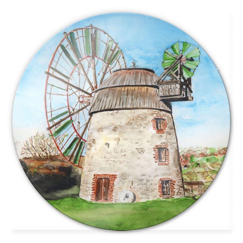 Glasbild Toetzke - Holländerwindmühle - rund