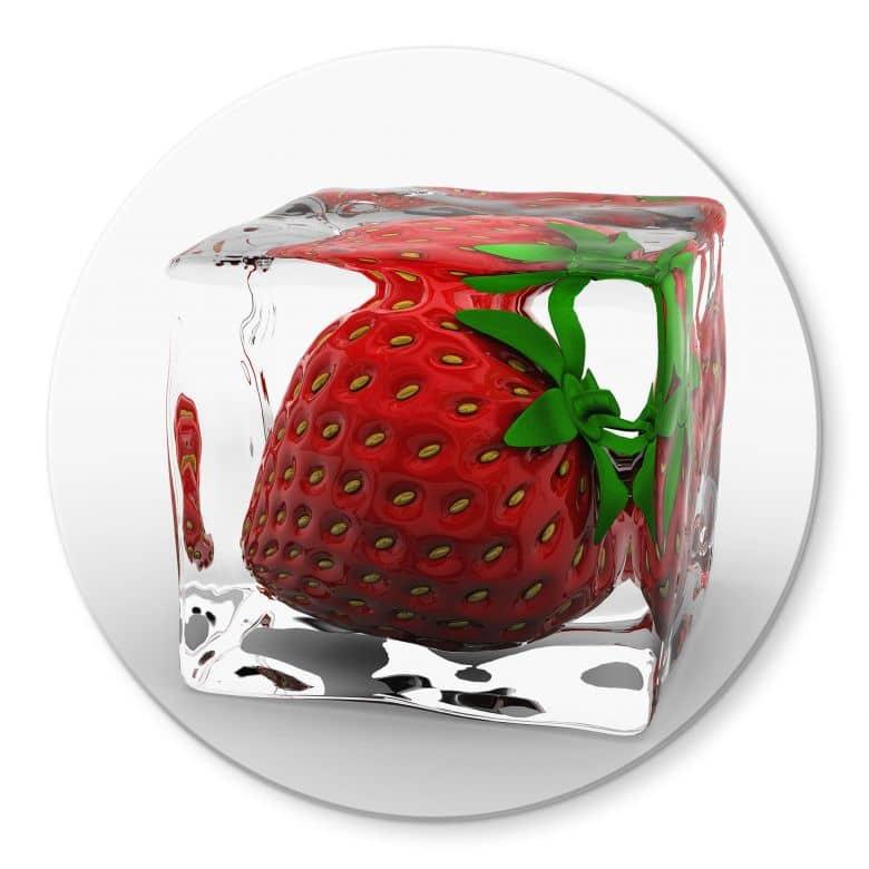Glasbild Erdbeereiswürfel - rund