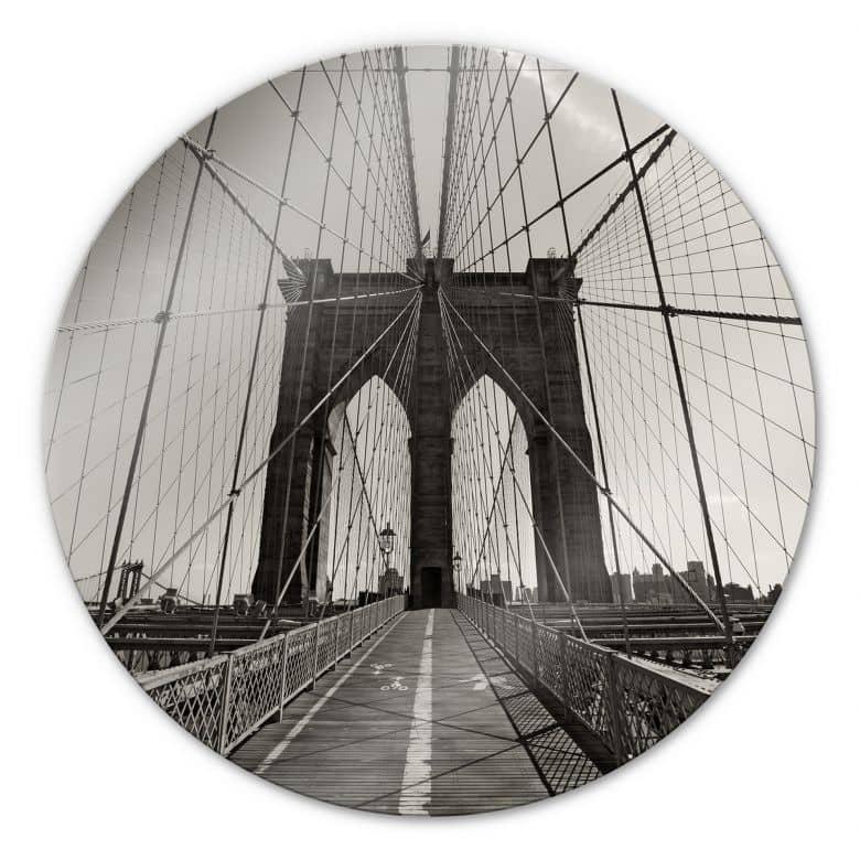 Glasbild Brooklyn Bridge Perspektive - rund