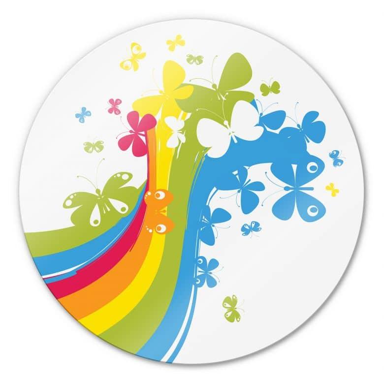 Glasbild Butterfly Rainbow - rund