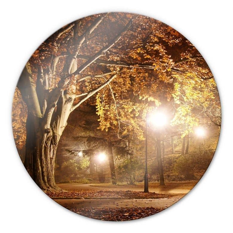 Glasbild Herbst im Park - rund