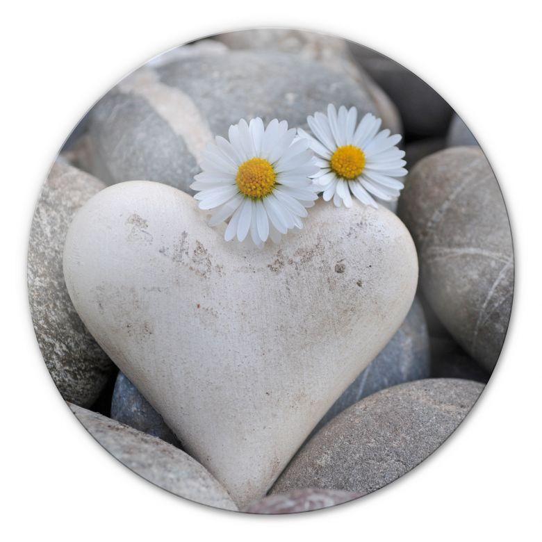 Tableau en verre - Les fleurs de l'amour - rond