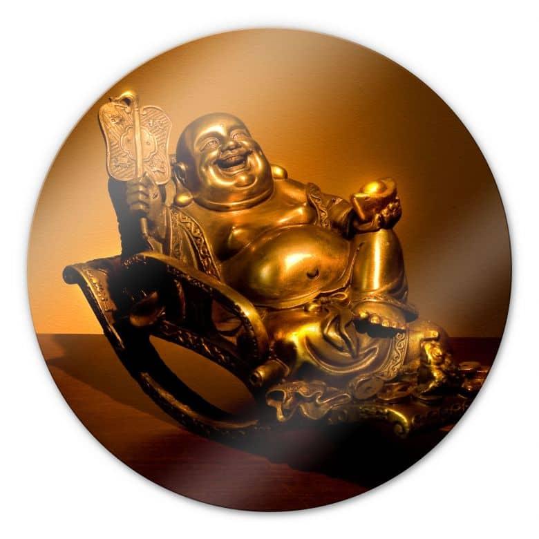 Glasschilderijen Happy Boeddha - Rond
