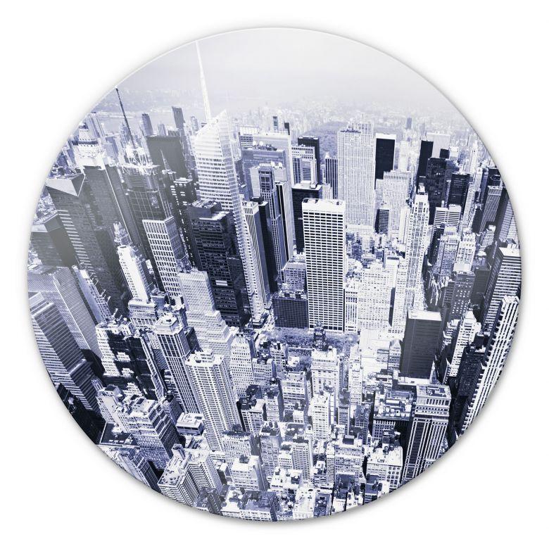 Glasbild Manhattan Luftbild - rund