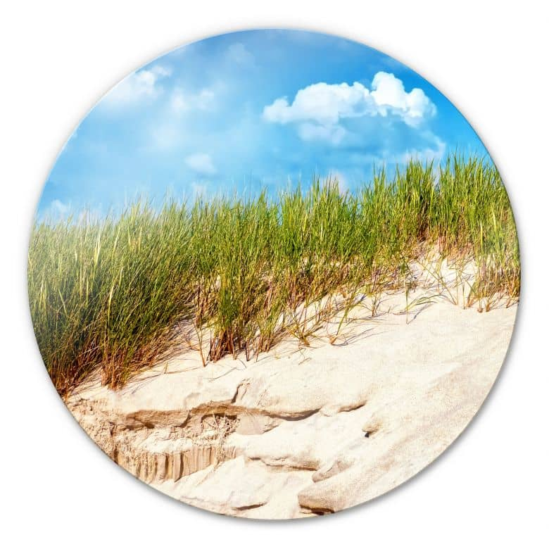 Glasbild Ostsee Dünenlandschaft - rund
