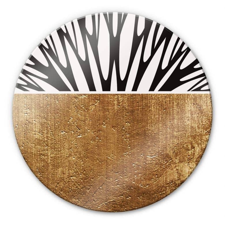 Glasbild Kubistika - Baum des Lebens - Gold - Rund