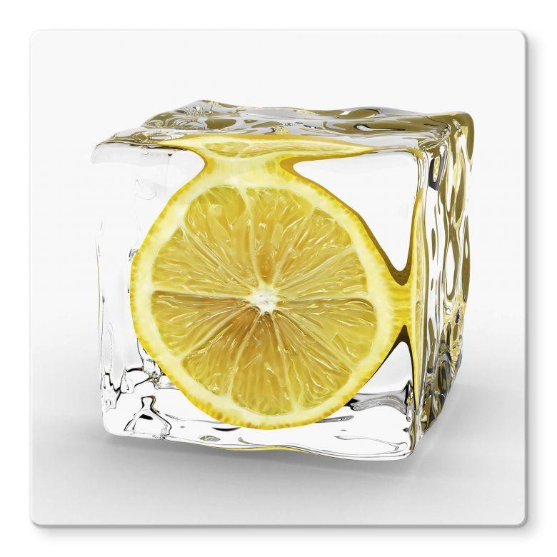 Tableau en verre - Glaçon rondelle de citron