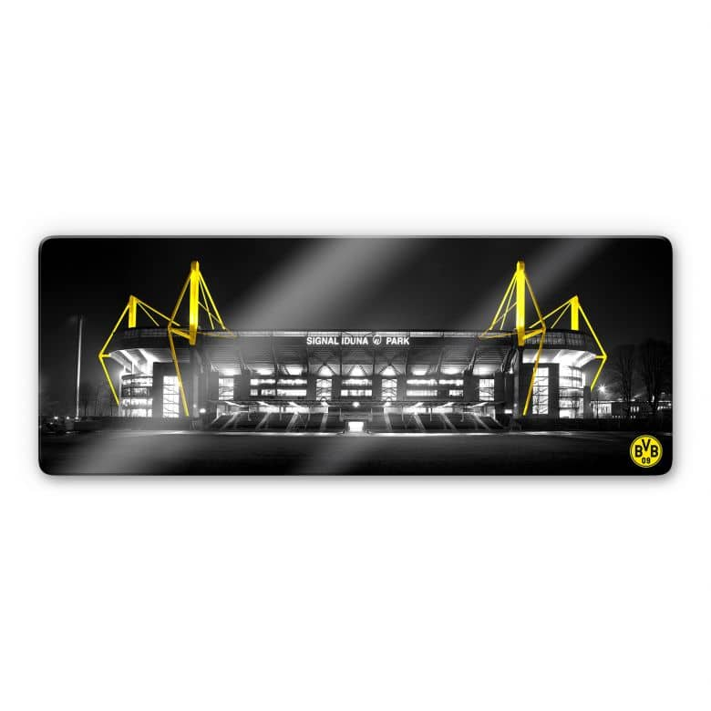 Glasbild BVB Signal Iduna Park bei Nacht 100x40 cm