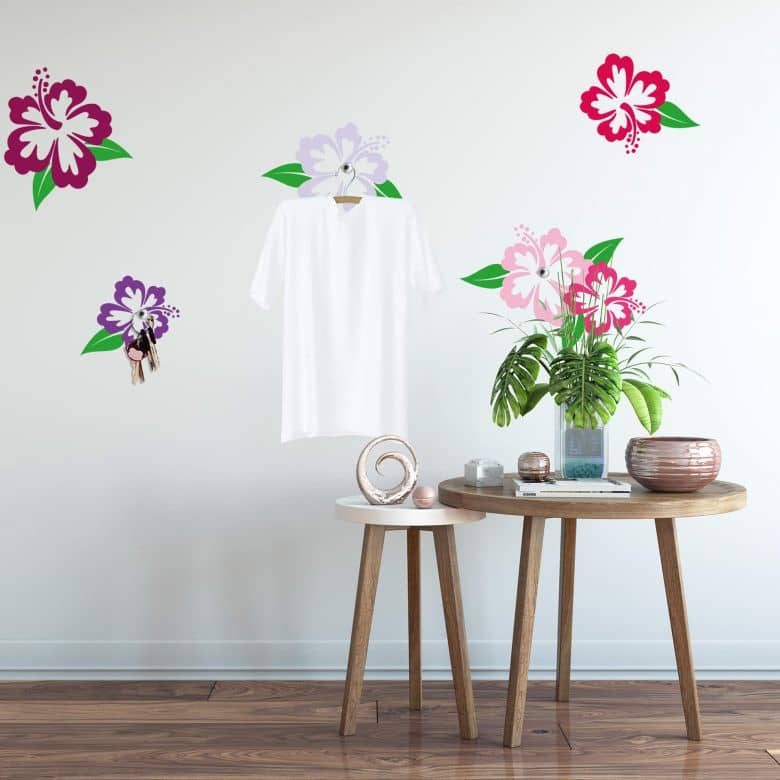 Hibiscus Flowers with Hooks Wall Sticker