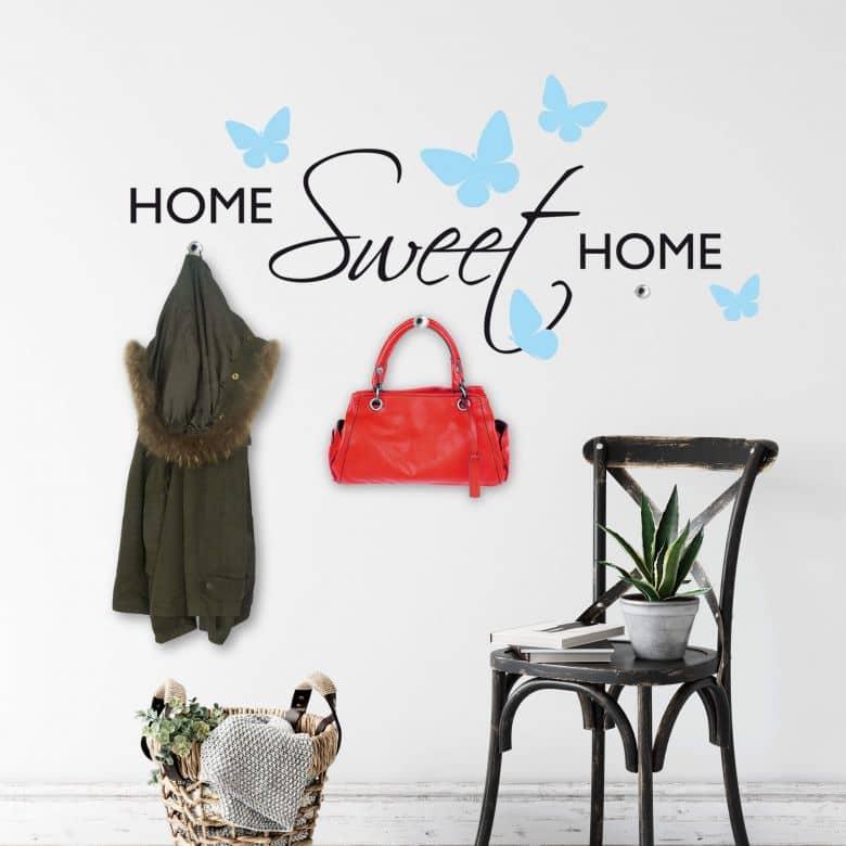 Wandtattoo Home Sweet Home mit Schmetterlingen + 3 Haken
