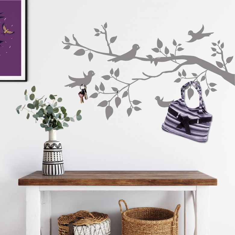 Branch with Bird Wall Sticker with Hooks