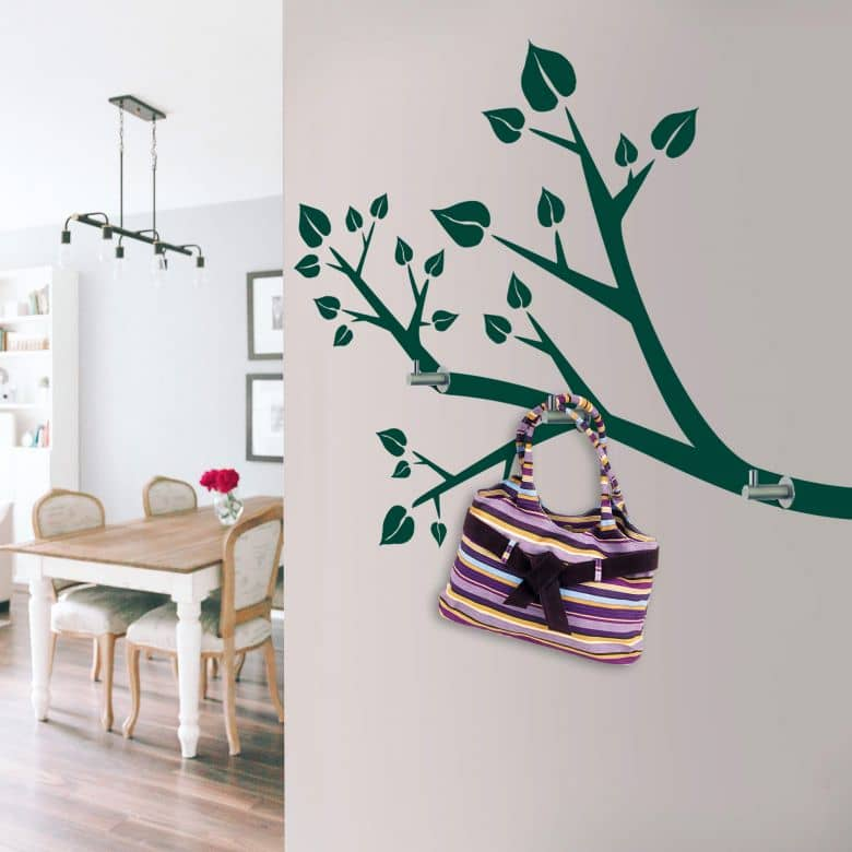 Sticker mural - Branche + 3 crochets