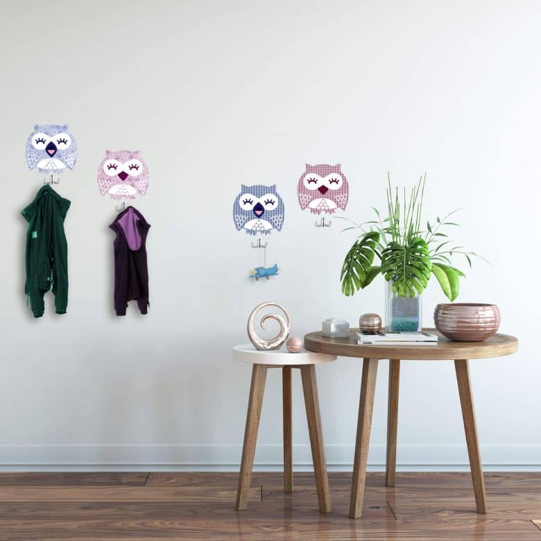 Owls Wall sticker + 4 Hooks