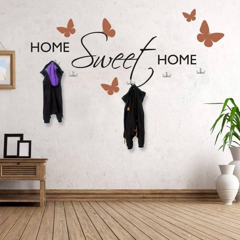 Muursticker Home sweet Home (2-kleurig) incl. 5 haken