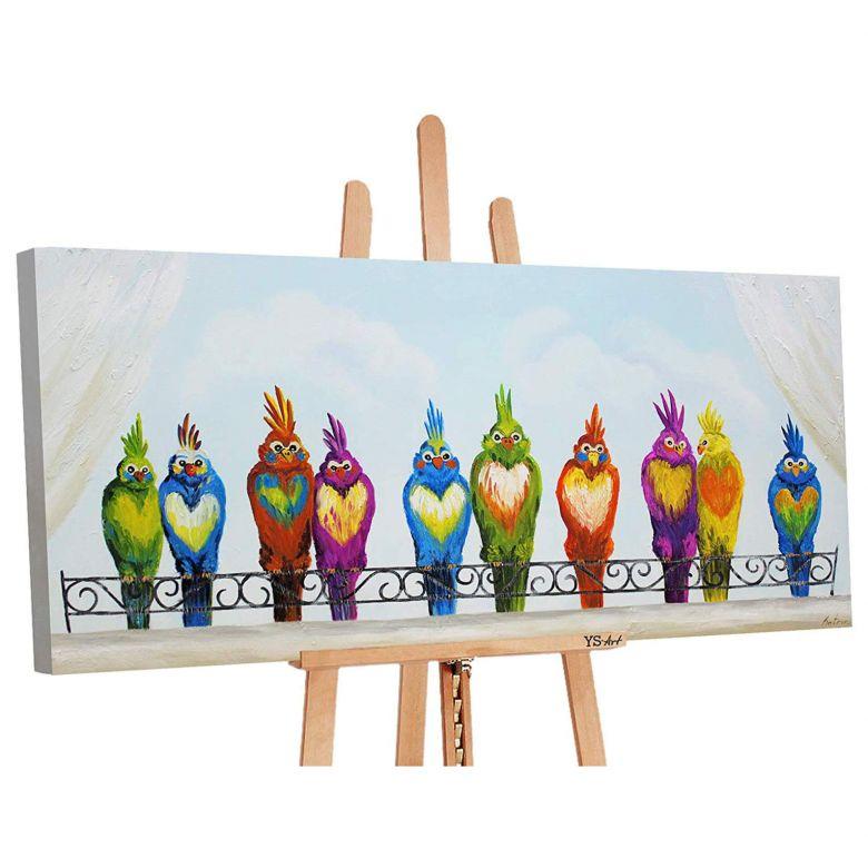 Acryl Gemälde handgemalt Lustige Vögel 140x70 cm
