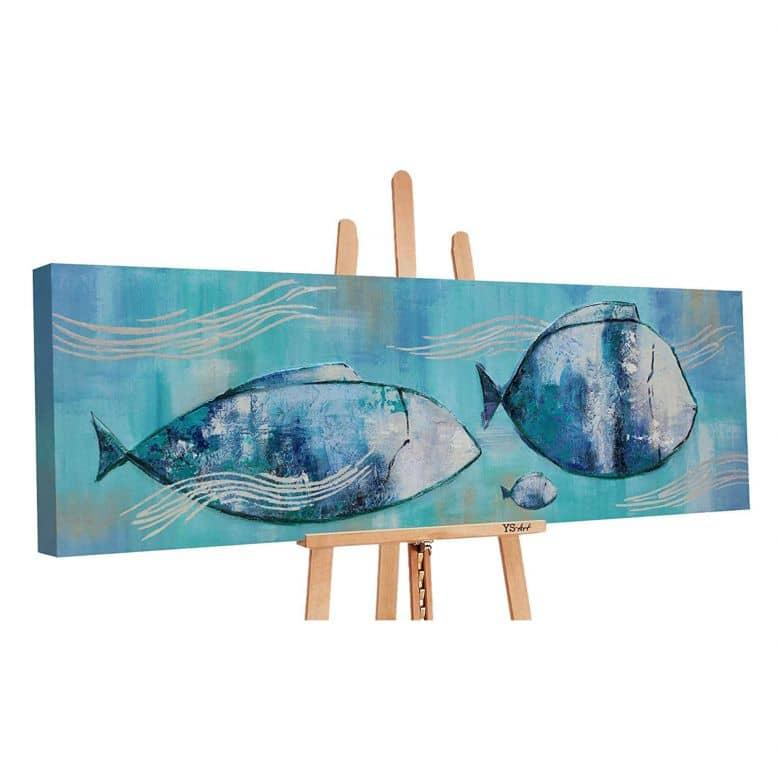 Acryl Gemälde handgemalt Reisende Fische 150x50 cm