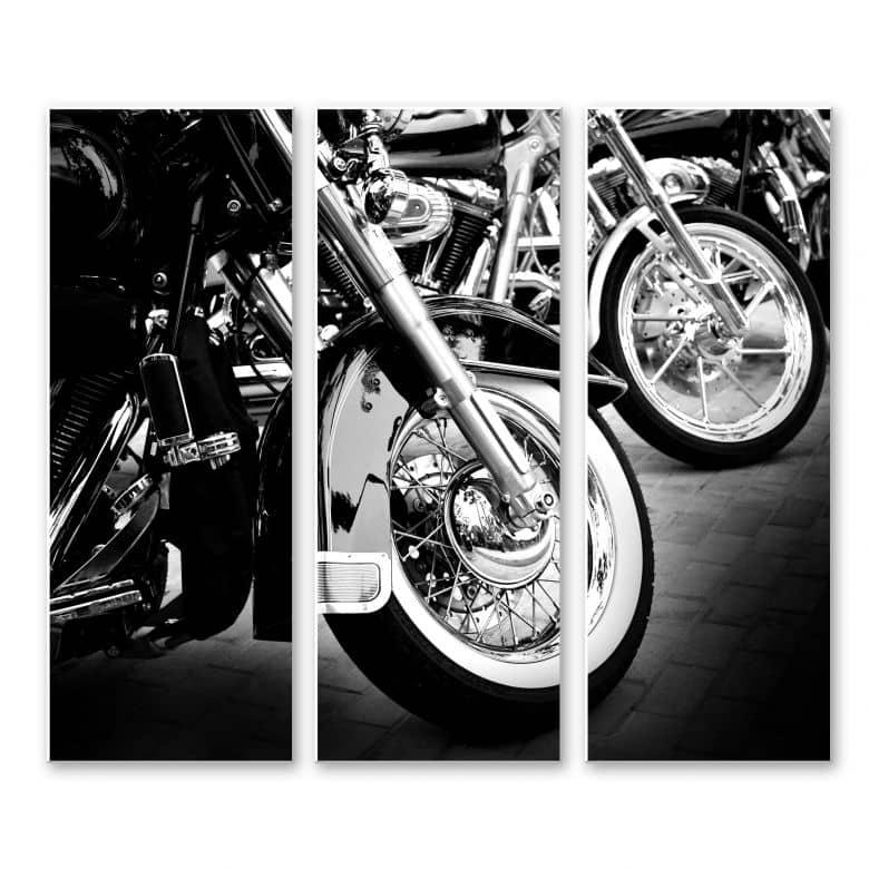 Wandbild Motorcycle Wheels (3-teilig)