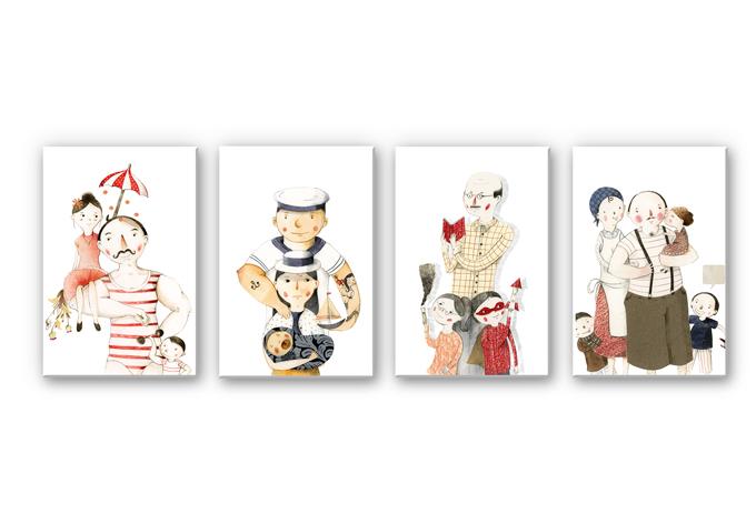 Wandbild Loske - Familien Porträts (4-teilig)