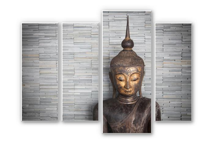 Wandbild Thailand Buddha (4-teilig)