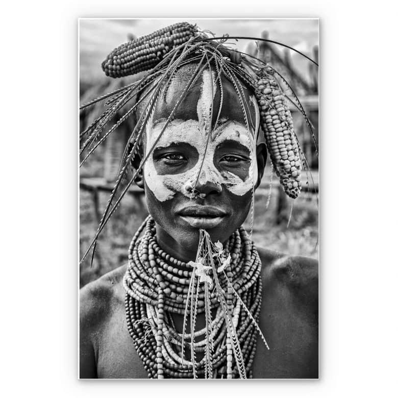 Wandbild Kuesta - Porträt eines äthiopischen Stammes