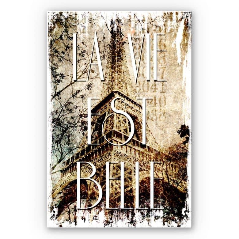 Wandbild La Vie est Belle - Vintage