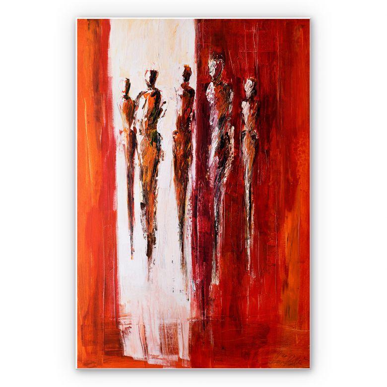 Wandbild Schüßler - Fünf Figuren in Rot