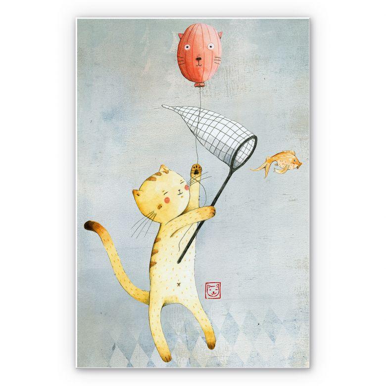 Wandbild Loske - Katze mit Ballon