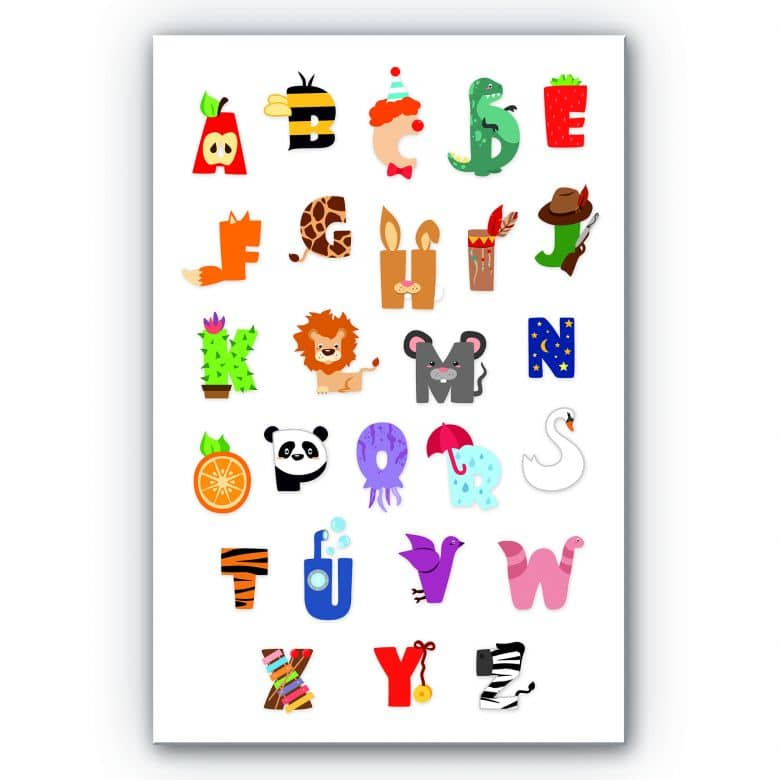 Wandbild Kinder Alphabet