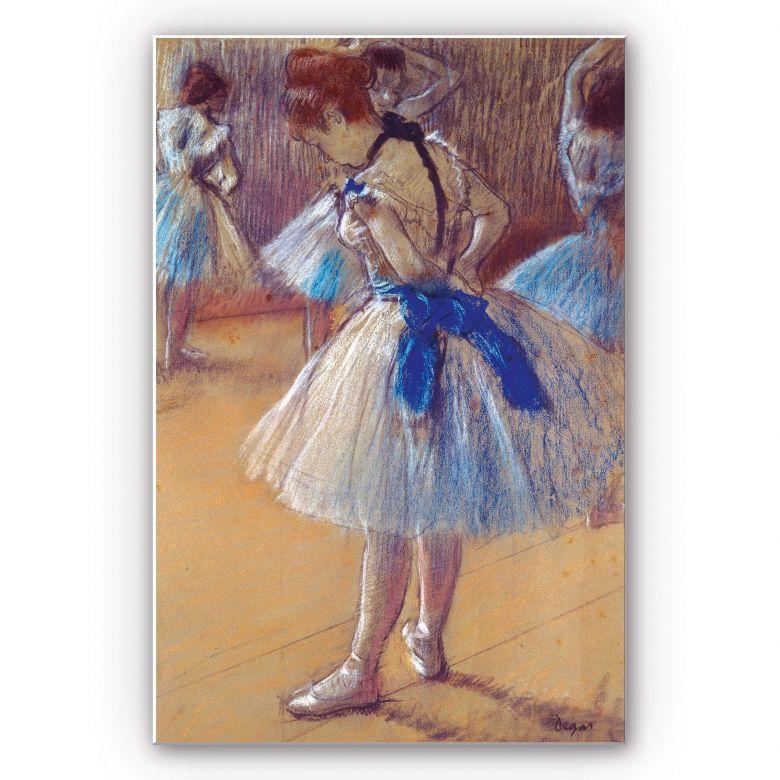 Wandbild Degas - Tänzerin beim Binden der Schleife