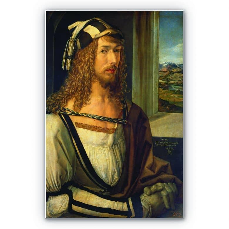Wandbild Dürer - Selbstbildnis mit Landschaft