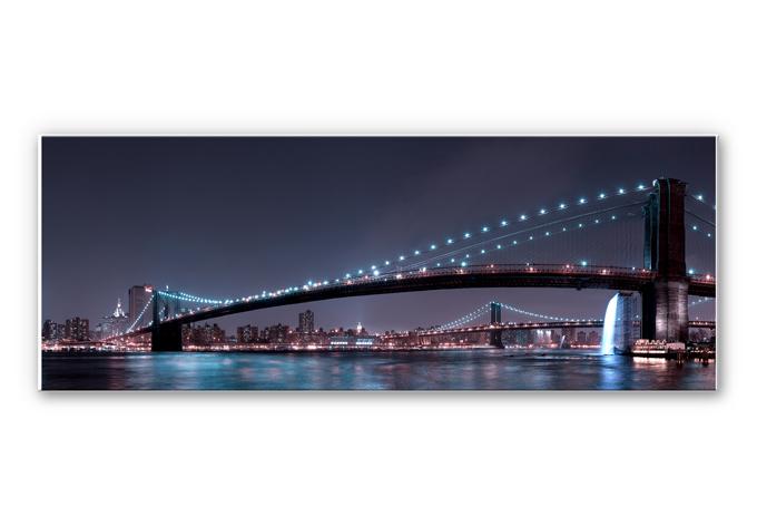 Wandbild Bravin -  Manhattan Skyline bei Nacht - Panorama