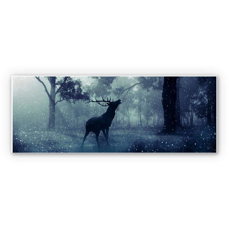 Leinwandbild Canvas Print Wandbild Hirsche im Morgengrauen Nr HW2467