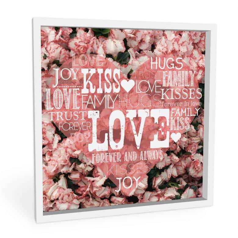 Wandbild Liebesherz im Blumenmeer - quadratisch